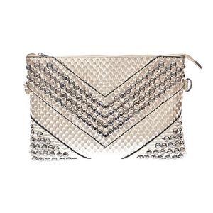 Snake SKin Design Studded Cross-body Handbag